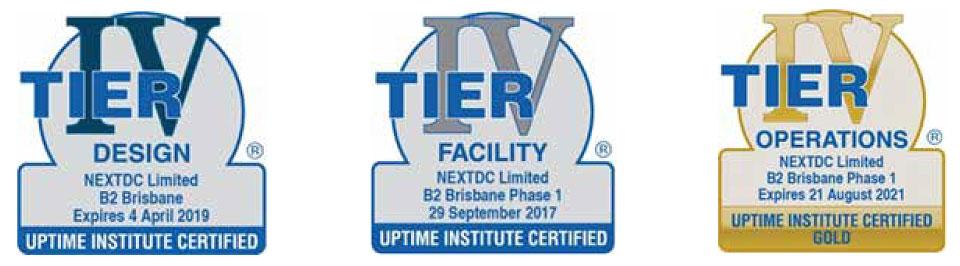 NEXTDC B2 Data Center Tier Certifications