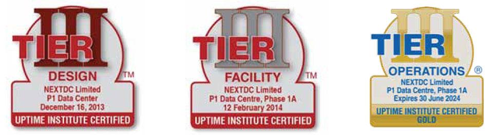 NEXTDC P1 Data Center Tier Certifications