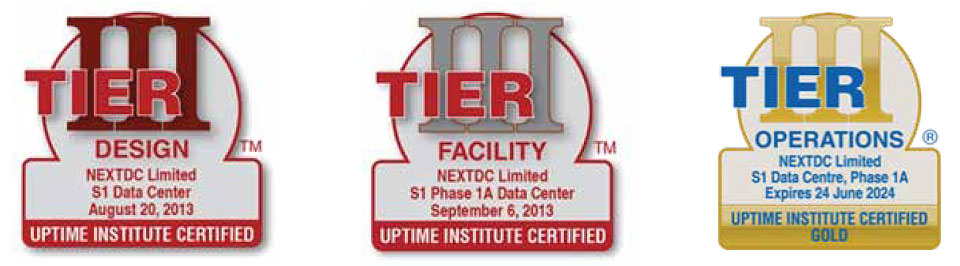 NEXTDC S1 Data Center Tier Certifications