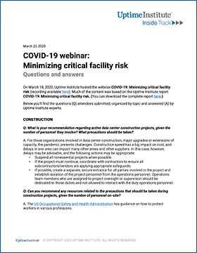 COVID-19 webinar: Minimizing critical facility risk - Questions and Answers