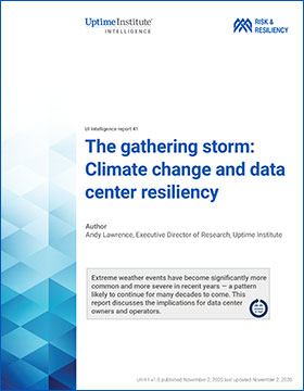 The gathering storm: Climate change and data center resiliency