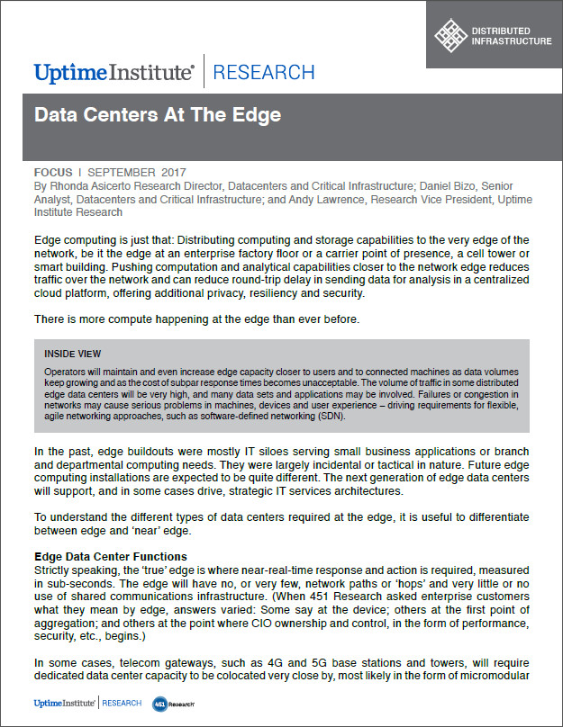 Data Centers at the Edge: Edge Computing
