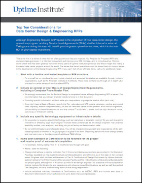 Top Ten Considerations for Data Center Design & Engineering RFPs