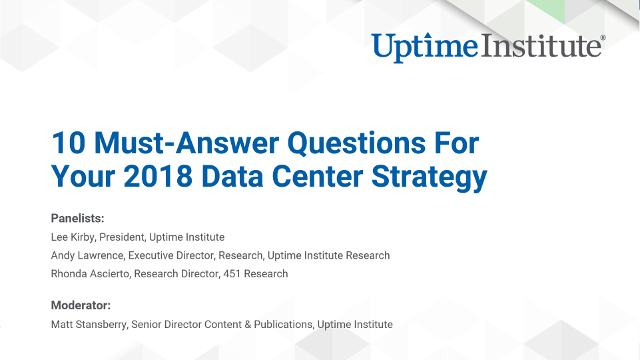 Webinar: 10 Must-Answer Questions For Your 2018 Data Center Strategy