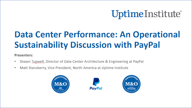 Webinar: Data Center Performance: An Operational Sustainability Discussion with PayPal